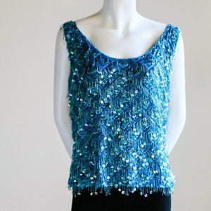 Aqua Blue Sequin and Bead Knit Embellished Tank